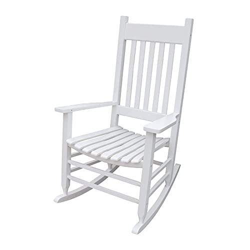 único, etc, porches, se Puede Aprovechar en Balcones, Pintura Negra, Mecedora de Madera para Porche, sillón reclinable Suave y Relajante (Color: Blanco)