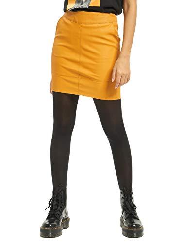 Only ONLBASE Faux Leather Skirt Otw Noos Gonna, Giallo (Oro Giallo Dorato), Small Donna