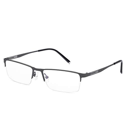 Fotocromismo Gafas de lectura grises Medio marco Aleación d