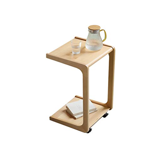 Side Table C-shaped Table with Pulley Living Room Sofa End Tables Mobile Snack Tray Coffee Laptop Tables Portable Workstation (Color : Wood)