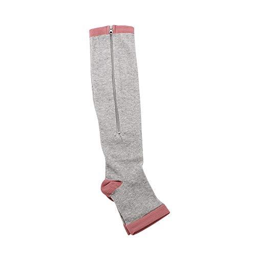 XUPHINX Kompressionssocken mit Reißverschluss Kniehohe,15-20mmHg Feste Stützadern mit offener Zehenpartie zum Krankenschwestern/geschwollene Schwangerschaft Erholung,grau L/XL