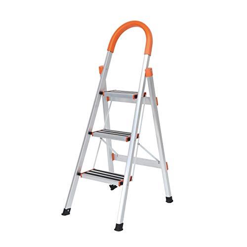 Stehleiter Alu Trittleiter 3 Stufen Leiter Stepladder Tritthocker Faltbarer Haushaltleiter KS-JF-003