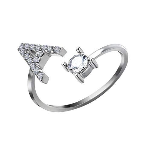 UKtrade - Letras de apertura sencilla con diamantes de imitación con anillo de diamante para mujer