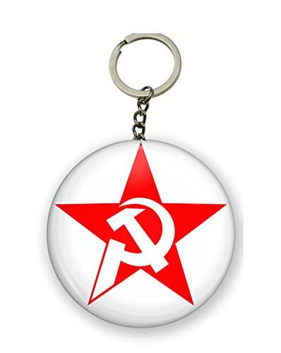 Gifts & Gadgets Co. Schlüsselanhänger mit rotem Stern und Schlitten, 58 mm, rund, großer Schlüsselanhänger