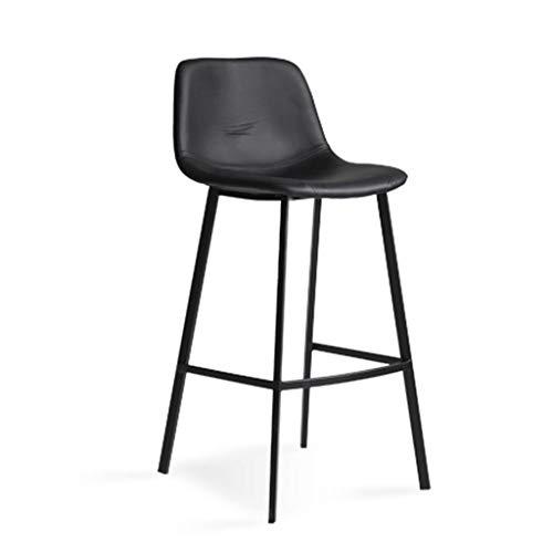 Barhocker Hausbar Stuhl Startseite Moderne Minimalist Hoher Hocker Leder Rückenlehne Cafe Hochstuhl (Color : Black, Size : 75cm)