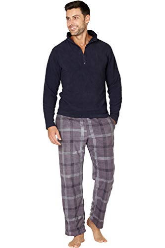 INTIMO - Pijama de Forro Polar con Cremallera para Hombre Gris S
