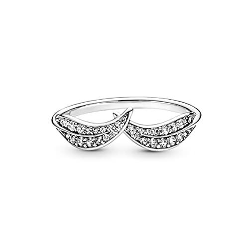 Pandora Anillo de plata para mujer con hojas brillantes 199533C01, Metal, Circonita cúbica.,