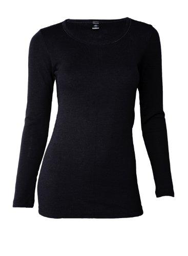 Dilling Merino Langarmshirt für Damen - Extra Feine Unterwäsche aus 100% Bio Merinowolle Schwarz 36