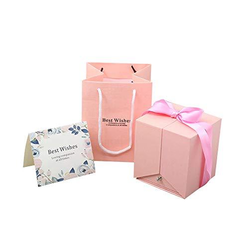 Eternal Rose, delicada caja de joyería de rosa caja de joyería de flores de rosa caja de flores nunca marginadas preservadas, regalos para mamá, regalos para ella, regalos para novia cumpleaños