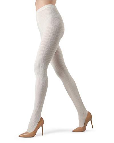 Memoi Portland Side Cable Sweater Tights | Women's Hosiery - Pantyhose Winter White MO 360 Small/Medium