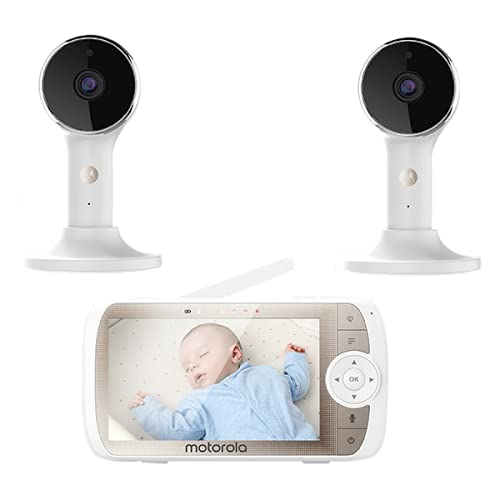 """Motorola Connect60-2 Dual Camera Hubble Connected Video Baby Monitor - 5"""" Screen, 1080p Wi-Fi Viewing 2-Way Audio, Night Vision, Digital Zoom and Hubble App (Connect60-2 Dual Camera)"""