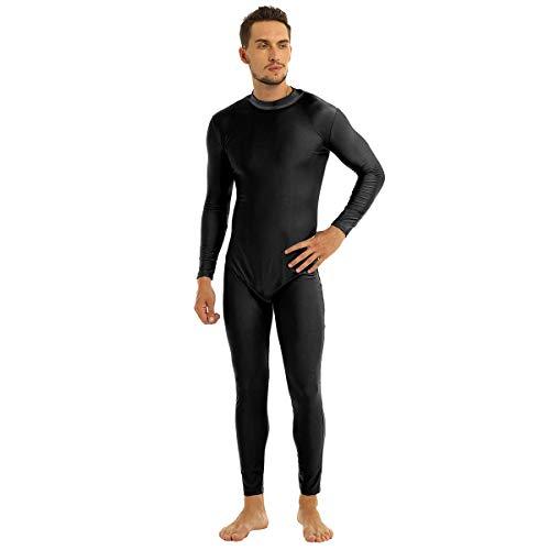 dPois Herren Ganzkörperanzug Jumpsuit Overall Langarm Bodysuit mit Stehkragen Body Atmungsaktiv Catsuit für Sport Training Gr. M-2XL Schwarz Medium