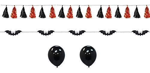 Halloween Hanging Decorations Bat Garland 1.8M and Black Orange Metallic Tassel Banner 2.4M Latex Balloons Set for Home Kids Party Wall Ceiling Door Garden Outdoor Partyware