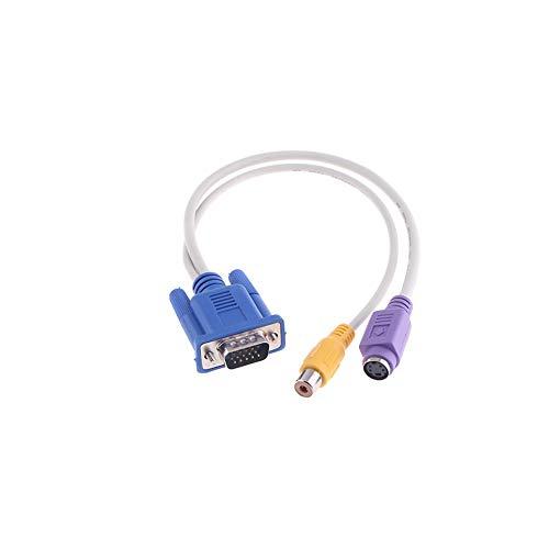 YaptheS TV-Ausgang VGA zu S-Video/RCA-Out-Kabel-Adapter VGA Stecker auf S-Video/RCA-Buchse Out-Adapter-Kabel (gelb, lila)