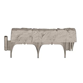 Suncast Interlocking Border Edging - Stone -Like Poly Construction for Garden Lawn and Landscape Edging - Water Resistant Border for Containing Trees Flower Beds and Walkways - Light Taupe -Gray