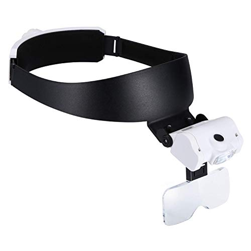 TMANGO Headband Magnifier with LED Lights, Head Mount and Lighted Magnifying Glasses for Close Up Work, 2 Brightness Headset Magnifier for Watch Repair, Jewelry, Arts, Crafts or Reading Aid