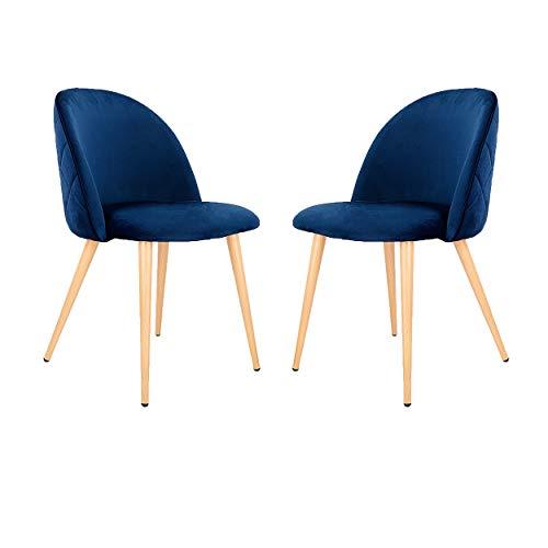 Velvet Dining Chairs Set von 2/4/6 Mid Century Modern Leisure Chairs Gepolsterte Stühle mit Metallbeinen für Schlafzimmer Wohnzimmer (Dark Blue 2)
