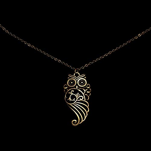 Owl ethnic pendant necklace in Celtic viking style on chain FREE SHIPPING bronze bird pendant