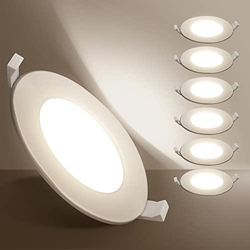 Aigostar Ojos de buey de led, 9W equivalente 48W, Downlight Led Techo, Luz natural 4000K, super slim, Foco leempotrable LED techo, Φ100-110mm, 6 pack [Clase de eficiencia energética A+]