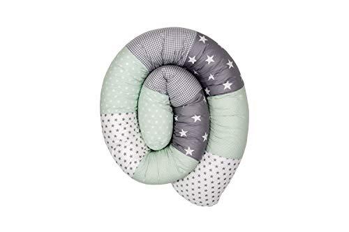 Cojín protector para cuna de ULLENBOOM ® cojín chichonera en forma de serpiente menta gris (ideal para proteger al bebé de los barrotes de la cuna o como cojín de apoyo)