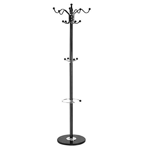 Tangkula 70' Metal Coat Tree, Coat Racks with 14 Hooks, Hat Jacket Stand Tree Holder Hanger Rack w/Marble Base (Black)