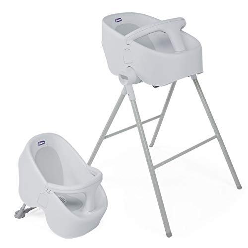Chicco Bubble Nest Bañera transformable para ducha o baño, con patas extraibles y asiento antideslizante, color gris (Cool Grey)