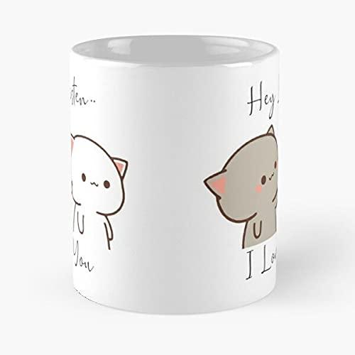 Generic Cute Cats- Peach and Goma - La Meilleure Tasse À Café En Céramique De Marbre Blanc De 11Oz ! ! Personnaliser