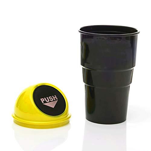 2 geladen auto prullenbakken, mini-auto prullenbakken auto vuilnis opslag auto prullenbakken worden vaak gebruikt in auto's, huizen, badkamers, kantoren, keukens, woonkamers, studeerkamers, restaurants, enz. Geel