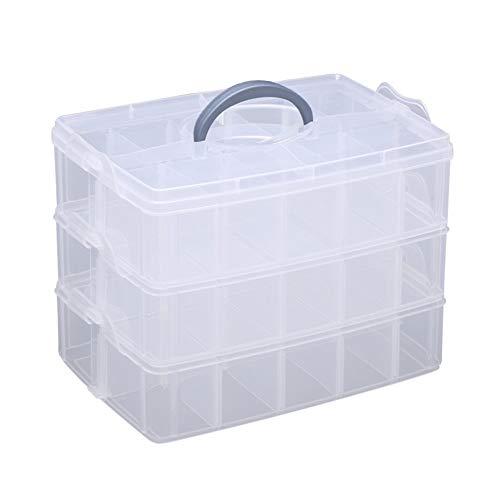 Hantier 3-Stufige Transparente Einstellbare Stapelbare Fachschlitz Kunststoff-Aufbewahrungsbox, Snap-Lock Clear Container Box Zum Speichern Von Spielzeug Schmuck Zubehör 2 Größen