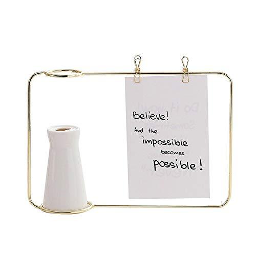 DIAZ woonkamer Home Decor gouden metalen draad Frame met witte keramische vaas briefkaart Opmerking Rack Flower Plant vaas voor slaapkamer, gouden