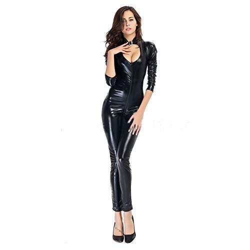Erotische Lederen Sexy Body Wetlook Lak Optics Jumpsuit Body Zipper Lingerie Freebily Clubwear Cosplay Feestkostuum Suit Ladies,Black,XXXL