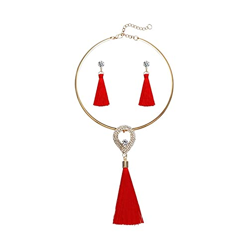 DSJTCH Fashion Women Tassel Jewelry Boho Pearl Chocker Collar Crystal Drop Pendientes Joyería de la Boda Juego de la Boda Pendientes de Collar de Borla (Metal Color : F1297)