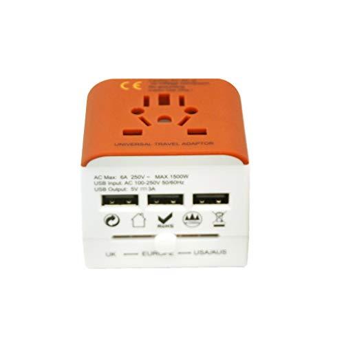 PIAOLING Adaptador de Enchufe de Viaje Mundial Universal, 3 Adaptador de energía Internacional USB para Europa, Reino Unido, China, Australia, Japón 224 países (Color : Orange)