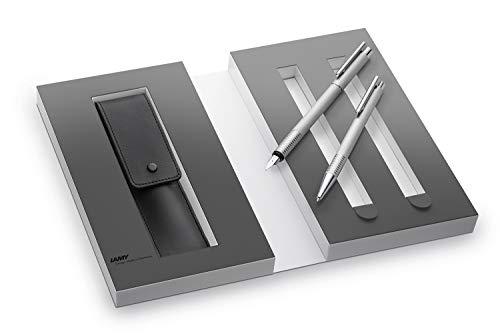 LAMY logo brushed 06/206 Set 899 – Zwei edle Metall-Schreibgeräte und ein hochwertiges Lederetui. Kugelschreiber mit Großraummine M 16 schwarz M und Füllhalter mit Federstärke: M