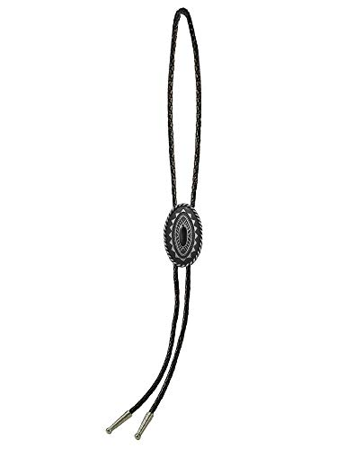 Sunrise Outlet Men's Western Bolo Tie Silver Tone Plated with Black Leatherette - 18 inch hang