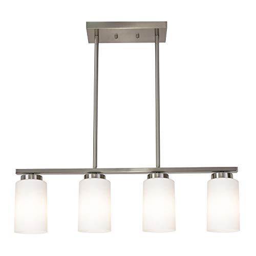 TODOLUZ Hanging Pendant Light with 4 Opal White Glass Lampshades Farmhouse Chandelier in Brushed Nickel for Kitchen Dining Room