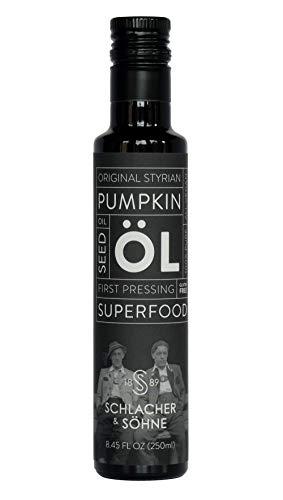 Schlacher & Söhne Styrian Pumpkin Seed Oil: 100% Pure, Cold Pressed Health Supplement, Prostate Health, Non GMO, Gluten Free, Vegan, Helps Hair Growth, Made in Austria (250 ml, 8.4 FL OZ)