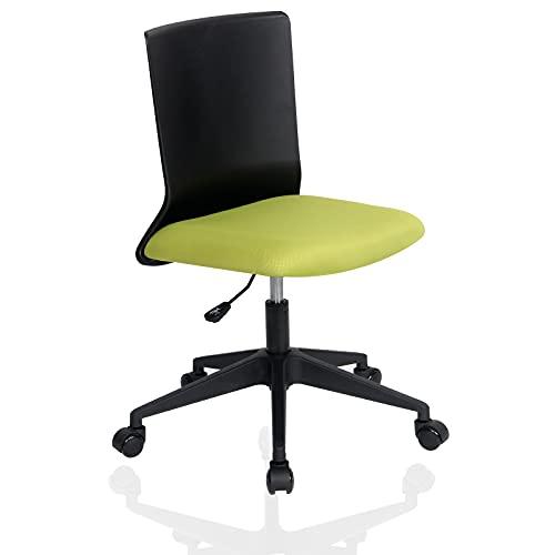 YOUNIKE Silla de Oficina Silla giratoria Silla de Oficina Respaldo ergonómico sillón sin Brazos Silla de Comedor Ahorro de Espacio Ajuste de Altura fácil de Instalar Verde Negro