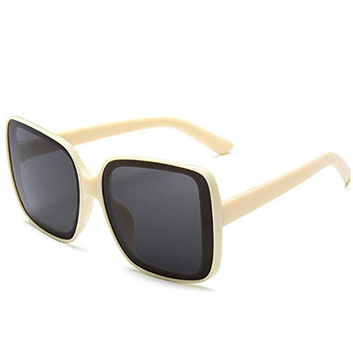 Gafas De Sol Hombre Mujeres Ciclismo Gafas De Sol Mujer Hombre Gafas De Sol con Montura Vintage Gafas Retro Gafas con Personalidad-Beige