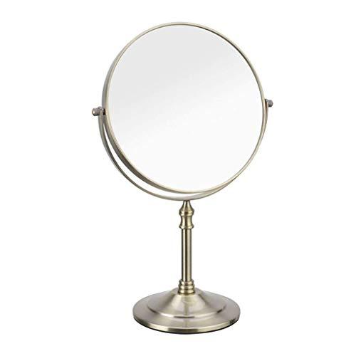 IREANJ Espejo de Llevado Espejo de Maquillaje Espejo de Maquillaje Espejo del Maquillaje de Carbono Hierro aleación de Escritorio de Doble Cara de Aumento 3X Retro Inoxidable Espejo de Aumento HD