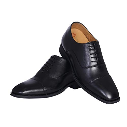 Revox Height Increasing Black Leather Formal Elevator Shoes for Men with Hidden Heel 3 Inches (UK/IND 6)