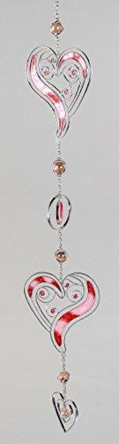 Formano Moderne Deko für das Fenster-Hänger Dekohänger Glasbild Fenster Tiffany 3 Herzen Rot/Silber Muttertag 60cm