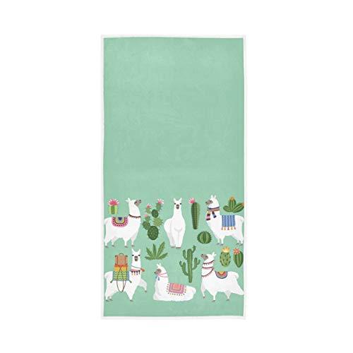 RURUTONG 1 toalla de mano de alpaca suave de secado rápido para cocina, natación, spa, gimnasio, decoración de 76 x 38 cm, diseño de animales de cactus 2010061