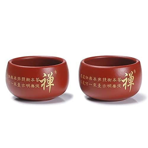 FCWMD Yixing Taza de té de Arcilla púrpura de 50 ml, vajilla de Barro púrpura Hecha a Mano, Juego de té de Kung Fu Chino, Juego de té de Tetera de Arcilla púrpura de Mineral Natural