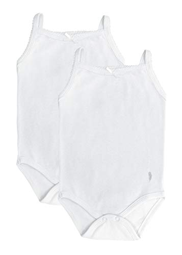 Feathers Baby Girls Solid White 100% Cotton Super Soft Camisole Onesies 2-Pack