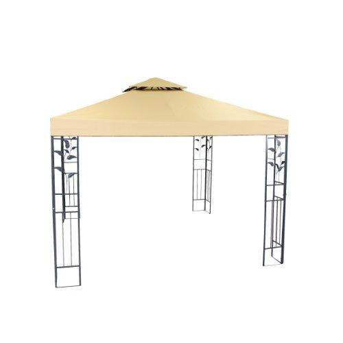 greemotion Pavillon Livorno beige, Partyzelt mit robustem Stahlgestell, Gartenpavillon mit wasserabweisendem Dachbezug (180g/m²) und UV-Sonnenschutz 50+, Maße ca. 300 x 300 x 280 cm
