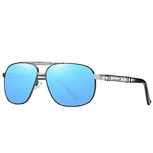 QCSMegy Gafas de Sol Nuevas Gafas De Sol Polarizadas for Hombre Clásicas Gafas De Sol Retro Gafas De Conducción for Exteriores Protección UV400 Gris Plata Patrón Patas Espejo Azul Lente