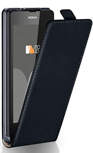 MoEx Flip Cover con Chiusura Magnetica Compatibile con Nokia Lumia 520/525   Finta Pelle, Nero