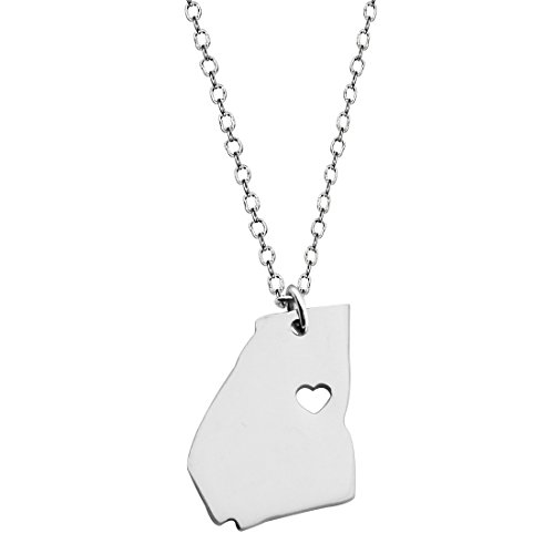 Country Map Charm Pendant State Shaped Necklace with a Heart (Silver Georgia)