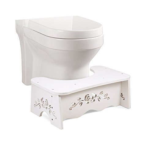 7 Inch Toilet Stool,Squat Toilet Stool, Bathroom Squat Toilet Stool,White Wood Bathroom Step,Comfortable Squat Aid for Kids,Children,Toddlers,Adults- 7 inch - White